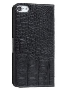 Synthetic Crocodile Leather Portfolio Case with Stand for iPod Touch 5/6 - Classic Black Leather Wallet Case