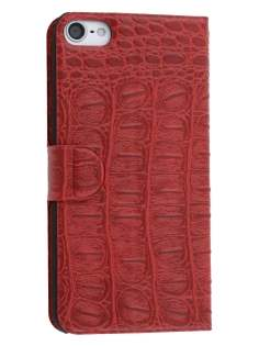 Synthetic Crocodile Leather Portfolio Case with Stand for iPod Touch 5/6 - Red Leather Wallet Case