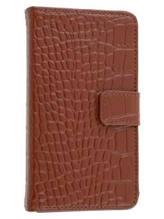 TS-CASE Crocodile Pattern Genuine Leather Wallet Case for Samsung I9100 Galaxy S II - Brown