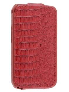 Samsung Galaxy Ace S5830 Slim Crocodile Pattern Synthetic Leather Flip Case - Red