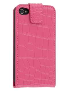 TS-CASE Crocodile Pattern Genuine Leather Flip Case for iPhone 4S/4 - Pink Leather Flip Case