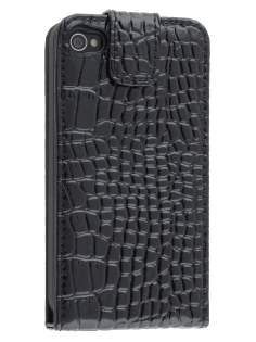 TS-CASE Crocodile Pattern Genuine Leather Flip Case for iPhone 4S/4 - Classic Black Leather Flip Case