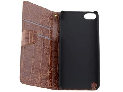 Synthetic Crocodile Leather Portfolio Case with Stand for iPod Touch 5/6 - Coffee