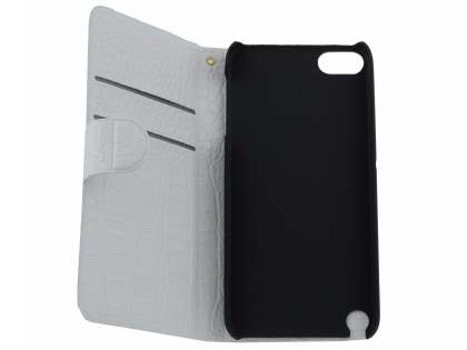 iPod Touch 5 Slim Synthetic Crocodile Skin leather Portfolio Case with Stand - Pearl White