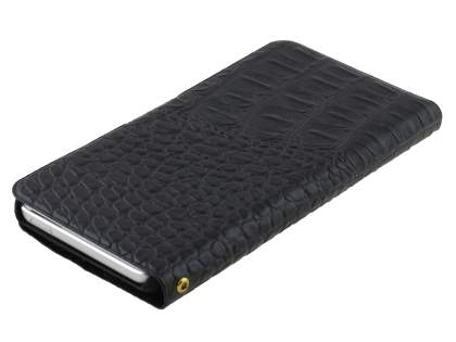 iPod Touch 5 Slim Synthetic Crocodile Skin leather Portfolio Case with Stand - Classic Black