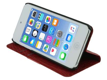 Synthetic Crocodile Leather Portfolio Case with Stand for iPod Touch 5/6 - Red