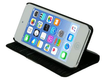 Synthetic Crocodile Leather Portfolio Case with Stand for iPod Touch 5/6 - Classic Black