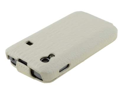 Samsung Galaxy Ace S5830 Slim Crocodile Pattern Synthetic Leather Flip Case - Pearl White