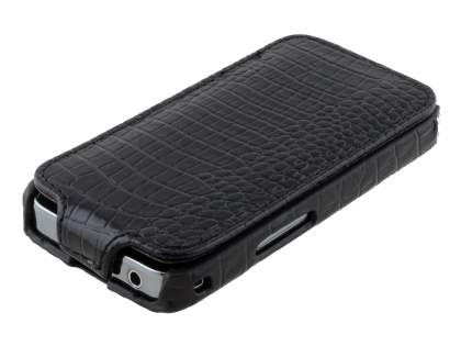 Samsung Galaxy Ace S5830 Slim Crocodile Pattern Synthetic Leather Flip Case - Classic Black
