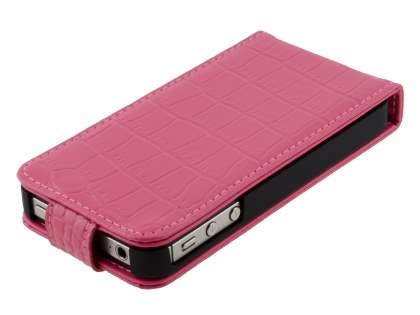 TS-CASE crocodile pattern Genuine Leather Flip Case for iPhone 4S - Pink