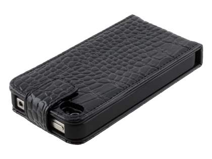 TS-CASE Crocodile Pattern Genuine Leather Flip Case for iPhone 4S/4 - Classic Black
