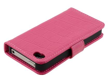 TS-CASE crocodile pattern Genuine leather Wallet Case for iPhone 4 /4S - Pink