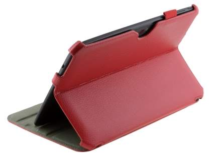Synthetic Leather Smart Case with Multi-Angle Tilt Stand for Samsung Google Nexus 10 - Red Leather Flip Case