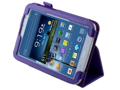 Samsung Galaxy Note 8.0 Synthetic Leather Flip Case with Fold-Back Stand - Purple Leather Flip Case