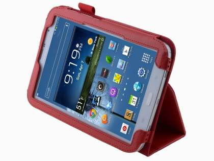 Samsung Galaxy Note 8.0 Synthetic Leather Flip Case with Fold-Back Stand - Red Leather Flip Case