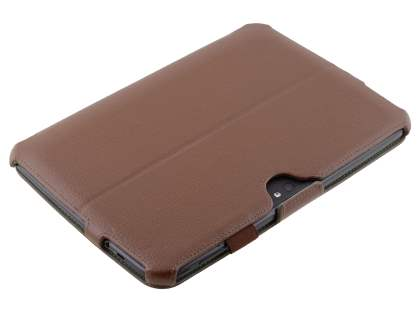 Premium Samsung Google Nexus 10 Slim Synthetic Leather Smart Case with Multi-Angle Tilt Stand - Brown