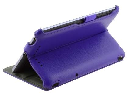 Premium Asus Google Nexus 7 2012 Slim Synthetic Leather Flip Case with Multi-Angle Tilt Stand - Purple
