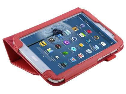 Synthetic Leather Flip Case with Fold-Back Stand for Samsung Galaxy Note 8.0 Tablet - Red