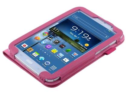 Samsung Galaxy Note 8.0 Synthetic Leather Flip Case with Fold-Back Stand - Raspberry
