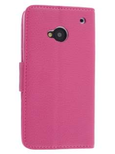 Synthetic Leather Wallet Case with Stand for HTC One M7 801e - Pink Leather Wallet Case