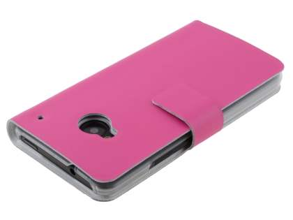 Slim Genuine Leather Portfolio Case for HTC One M7 801e - Pink