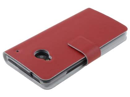 Slim Genuine Leather Portfolio Case for HTC One M7 801e - Red