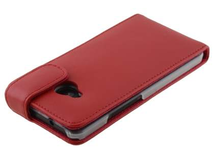 HTC One M7 801e Genuine Leather Flip Case - Red
