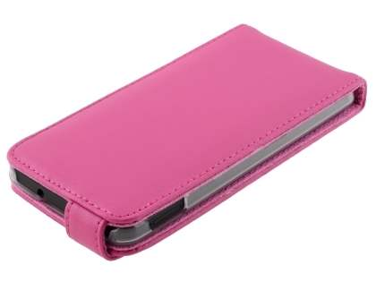 HTC One M7 801e Genuine Leather Flip Case - Pink