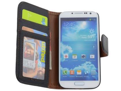 Samsung Galaxy S4 I9500 Synthetic Leather Wallet Case with Stand - Black