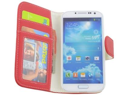 Samsung Galaxy S4 I9500 Synthetic Leather Wallet Case with Stand - Red