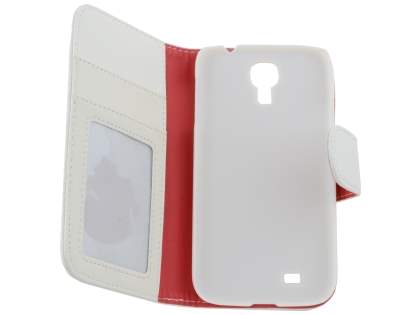 Samsung Galaxy S4 I9500 Synthetic Leather Wallet Case with Stand - White