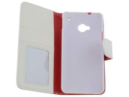 Synthetic Leather Wallet Case with Stand for HTC One M7 801e - White