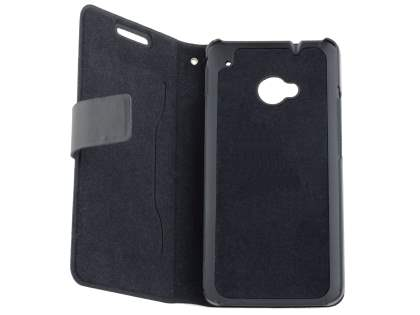 HTC One M7 801e Slim Genuine Leather Portfolio Case - Classic Black