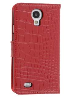 TS-CASE Crocodile Pattern Genuine leather Wallet Case for Samsung Galaxy S4 I9500 - Red Leather Wallet Case