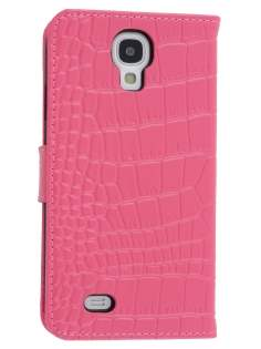 TS-CASE crocodile pattern Genuine leather Wallet Case for Samsung Galaxy S4 I9500 - Pink Leather Wallet Case