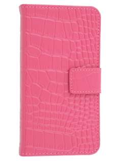 TS-CASE Crocodile Pattern Genuine leather Wallet Case for Samsung Galaxy S4 I9500 - Pink
