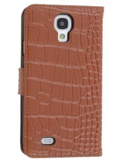 TS-CASE Crocodile Pattern Genuine leather Wallet Case for Samsung Galaxy S4 I9500 - Brown Leather Wallet Case