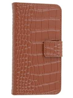 TS-CASE crocodile pattern Genuine leather Wallet Case for Samsung Galaxy S4 I9500 - Brown