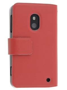 Slim Genuine Leather Portfolio Case for Nokia Lumia 620 - Red Leather Wallet Case