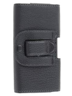 Textured Synthetic Leather Belt Pouch for HTC One M7 801e - Classic Black