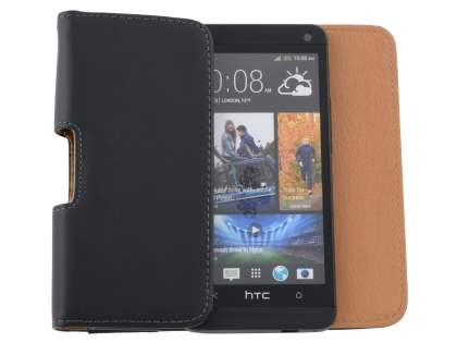 Smooth Synthetic Leather Belt Pouch for HTC One M7 801e - Classic Black