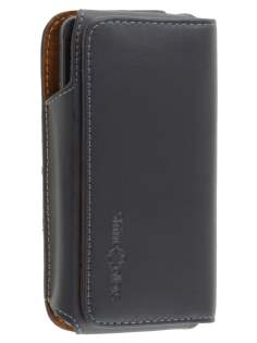 Extra-tough Genuine Leather ShineColours belt pouch for HTC One M7 801e - Classic Black Belt Pouch