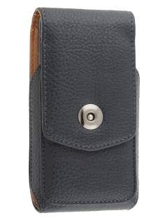 Textured Synthetic Leather Vertical Belt Pouch for HTC One M7 801e - Classic Black
