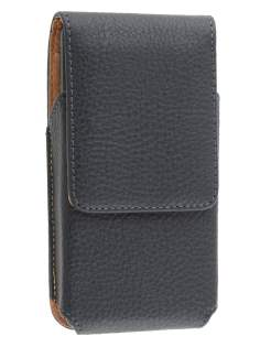 Textured Synthetic Leather Vertical Belt Pouch for HTC One M7 801e - Classic Black Belt Pouch