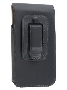 Smooth Synthetic Leather Vertical Belt Pouch for HTC One M7 801e - Classic Black