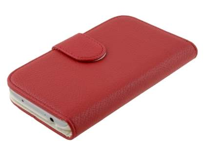 Synthetic Leather Wallet Case with Stand for Samsung Galaxy S4 I9500 - Red