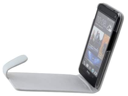 HTC One M7 801e Genuine Leather Flip Case - Pearl White