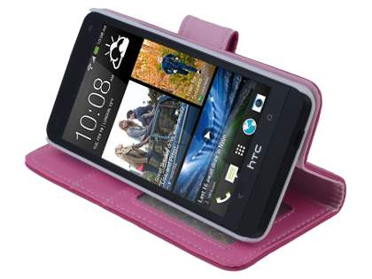 Synthetic Leather Wallet Case with Stand for HTC One M7 801e - Pink
