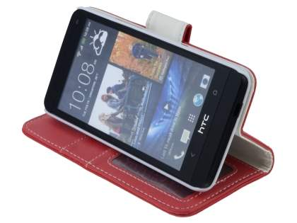 HTC One M7 801e Synthetic Leather Wallet Case with Stand - Red