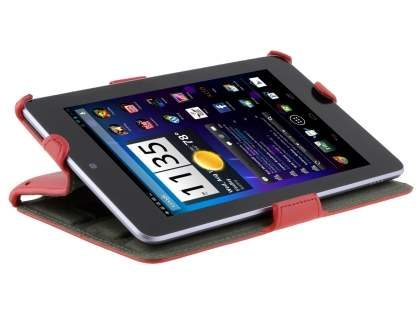 Premium Asus Google Nexus 7 2012 Slim Synthetic Leather Flip Case with Multi-Angle Tilt Stand - Red